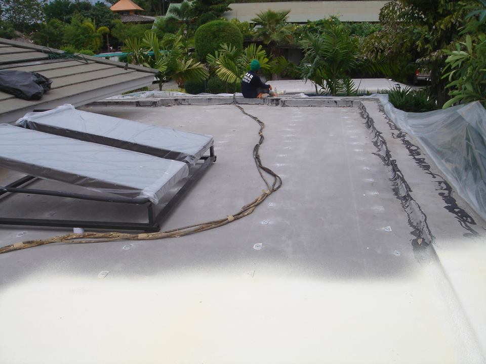 Exterior concrete roof insulation