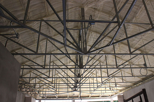 Interior roof insulation p.u. spray foam at Eastern Star Golf Course